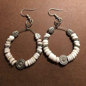 Handmade puka shell hoop earrings